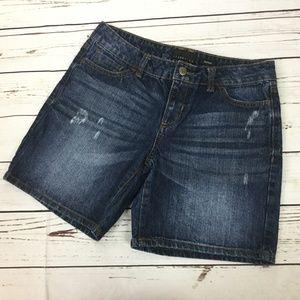 Attention Boyfriend Denim Bermuda Shorts, Size 4